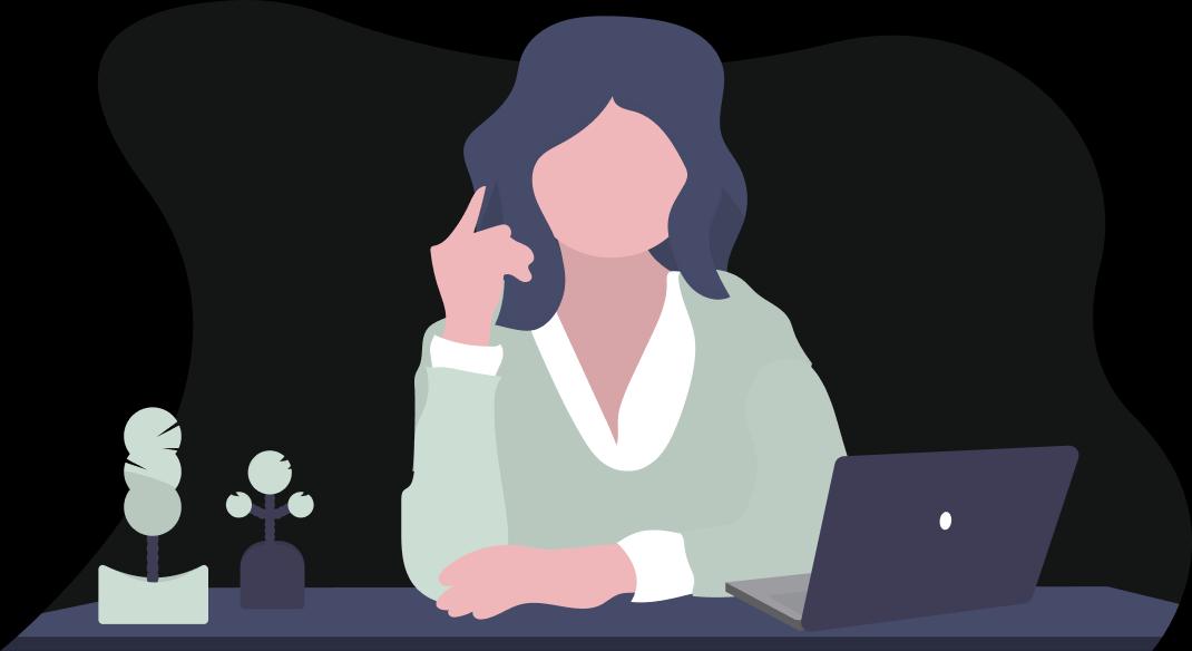 Illustration av kvinna som sitter vid skrivbord och genomför neuropsykiatrisk utredning